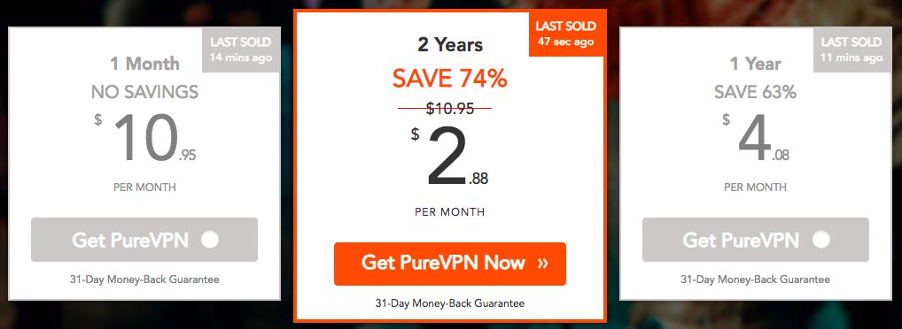 PureVPN 价格方案