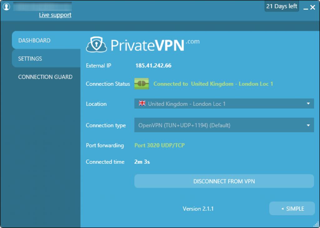 privatevpn 进阶版界面