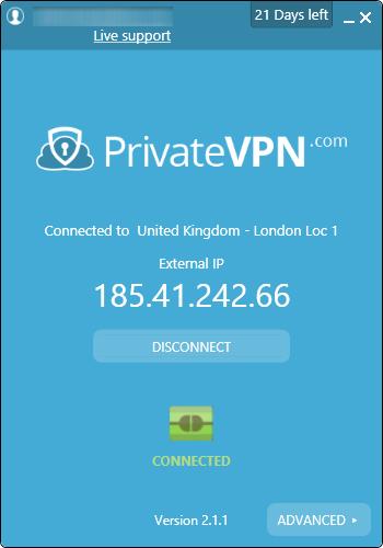 privatevpn 连线画面